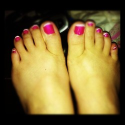 #toes #feet #pedicure #toenails #pink #opi #nailpolish #feet #foot #mine (Taken with Instagram)