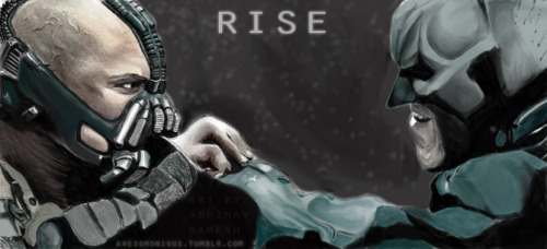 otlgaming:  THE DARK KNIGHT RISES FAN ART Using a Wacom pen and touch tablet, OTLGaming follower and aspiring digital artist Awesomonious (aka Abhinav Ramesh) made this Batman vs Bane fan art in celebration of the upcoming film The Dark Knight Rises.  It's really gorgeous and you should check his tumblr for some other superb superhero digital art and his other great work. It's not who I am underneath, but what I link that defines me: Batman/LA Noire/Portal Mashup || Full Size Bat Toys