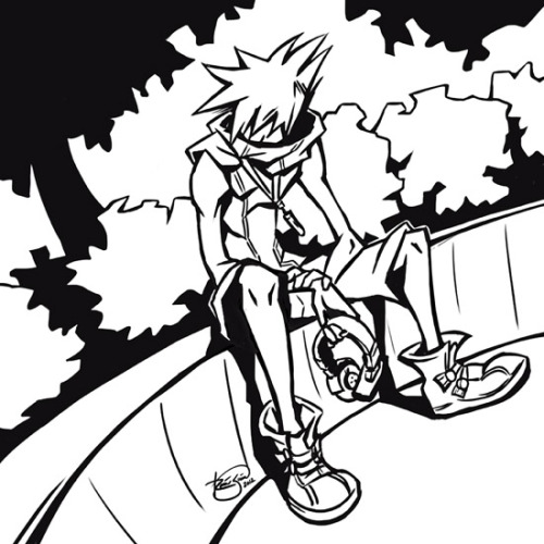 contemplation… Neku's character development in すばらしきこのせかい [Subarashiki Kono Sekai/The World Ends With You] makes the video game such a treat to play. I am such a sucker for character development. [Not to mention the bold art style. I ADORE bold art styles.] Color version is in the works.