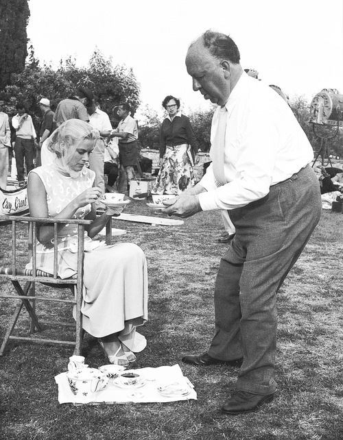 awesomepeoplehangingouttogether:  Grace Kelly and Alfred Hitchcock by Edward Quinn, 1954