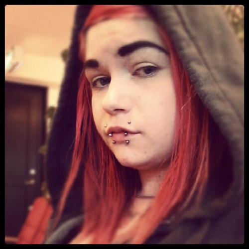 Tired girl on a meeting with the social services #me #tired #girl #piercings #swedish #meeting #soc #red #hair  (Taken with Instagram)