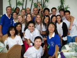 "Ni hao, yall! Tsinghua University's English Summer Camp is filled with many students, foreign volunteers (those in the white t-shirts like myself), foreign teachers (those in blue shirts), and camp coordinators.  To make the camp seem more personable for everyone, Tsinghua's Foreign Language Department has decided to make the summer camp a ""National"" country, with ""Provinces"" that split the nation into smaller groups, and ""Cities"" which are the individual classes. This is a photo of my fellow Tsinghua volunteers, foreign volunteers, foreign teachers, and camp coordinators. We all went out to lunch together to celebrate a successful first week of camp.  I have formed so many great relationships with the people in this photo and in the camp; it is truly a blessing to be here."