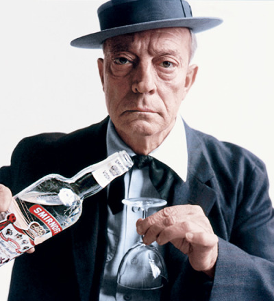 a-y-w:  Buster Keaton for Smirnoff Vodka. Photographed by Bert Stern