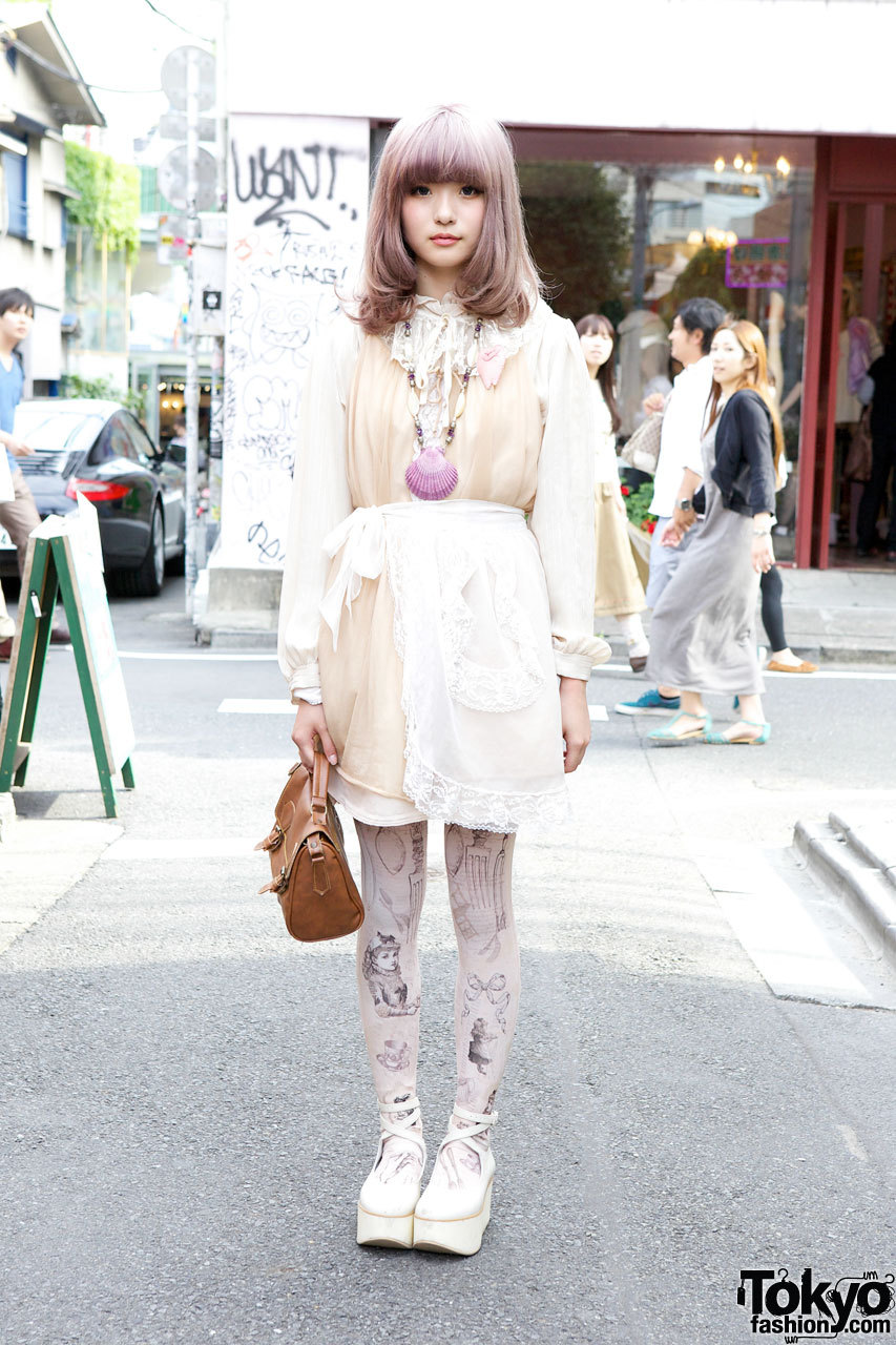 Grimoire tights, shell necklace & The Virgin Mary layered dress in Harajuku.