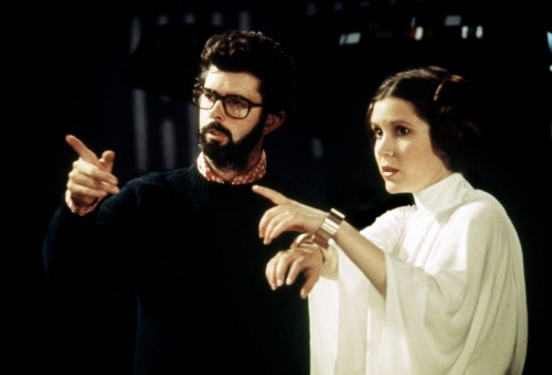 George Lucas and Carrie Fisher on-set of Star Wars: A New Hope (1977)