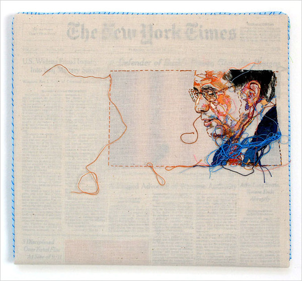 magnolius:  Hand Embroidered New York Times by Lauren DiCioccio