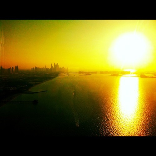 #sunset #igersdubai #cityscape (Taken with Instagram at Sky View Bar @Burj Al Arab)