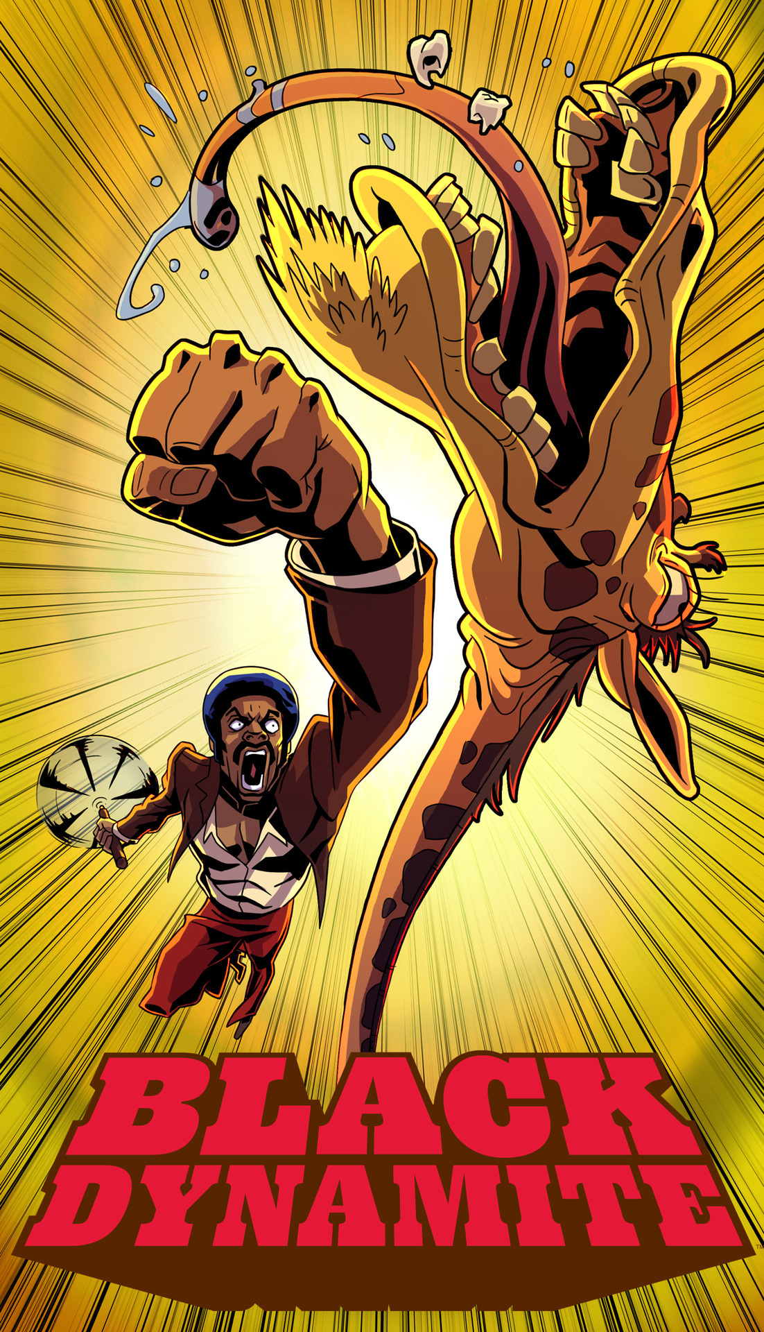 blackdynamitetv:  Rise and shine jive turkey! Black Dynamite premieres in 4 days.  how..wha…WHY is he punching a giraffe?! LoL!
