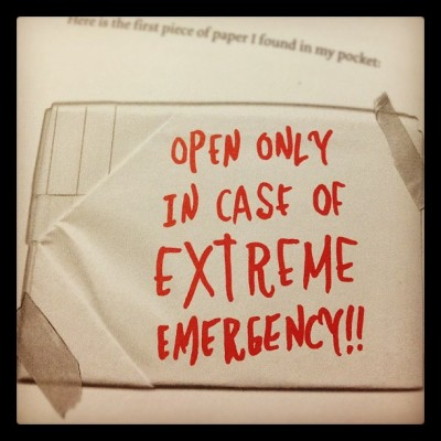 11. Letter : Open only in case of extreme emergency!! #photoadayjuly #letter #emilythestrange #book (Taken with Instagram)