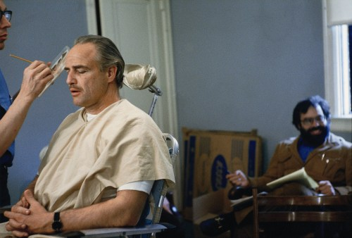 Marlon Brando and Francis Ford Coppola while filming The Godfather (1972).