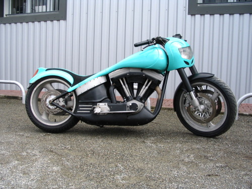 """AQUAMARINE"" by VTM in France  This Harley Davidson was built in 1993 by VTM - AUCH. It has a 1340 Evolution engine, a carburetor from a jet ski, hydraulic clutch, the cylinder head has been flowed,  rigid VTM frame, VTM bodywork, 17 inch rear wheel from a gsxr and a bunch of other stuff that google translate failed to decipher.  Like us on FB"