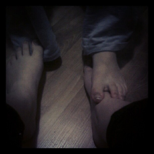 Me and my sisters feet while doing sit ups cause we both want to be onthe bottom (Taken with Instagram)