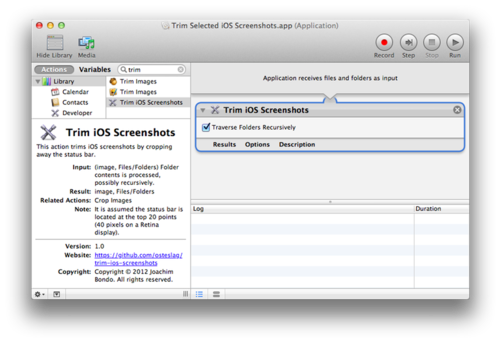 Trim Selected iOS Screenshots Automator Application