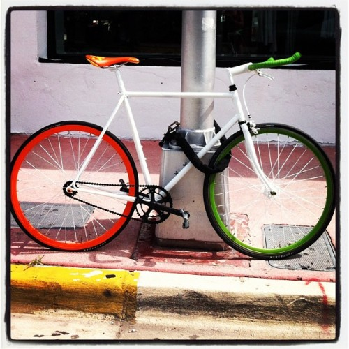 Miami Bike Magic #bikelove #bikeporn #miamibeach #southbeach #florida #colorgalore #latergram (Taken with Instagram at Ferrari of Miami)