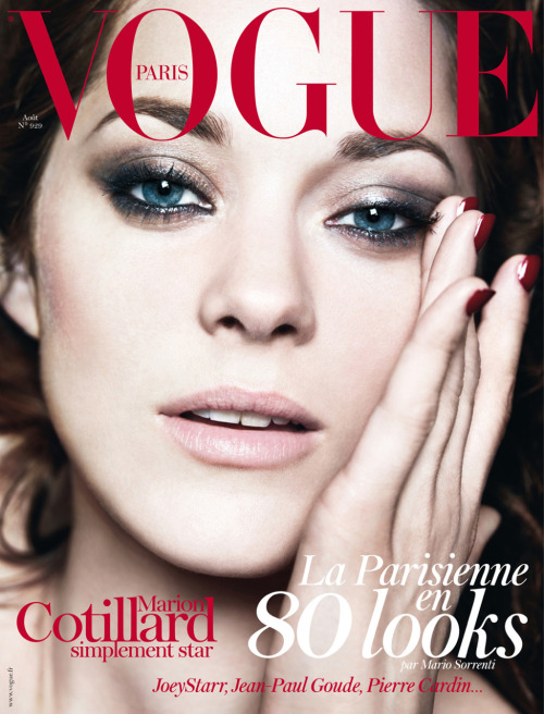 lushluxeandlovely:  The always stunning Marion Cotillard lands another Vogue cover. This time it's the August issue of Vogue Paris. Shot by Mario Sorrenti.