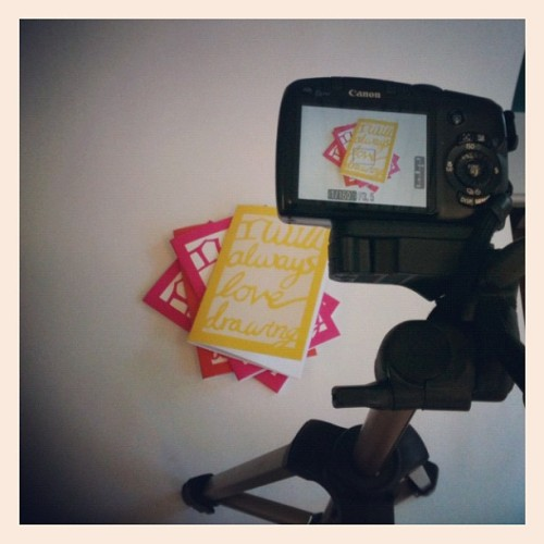 "Shooting some catalogue photos of my new ""I will always love drawing"" books (Taken with Instagram)"