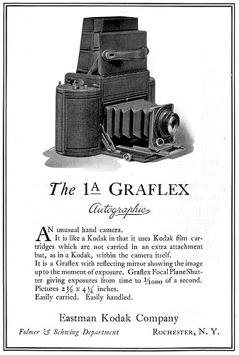 "The 1A GraFlex Autographic Ad Kodakery Magazine ""An unusual hand camera. It is like a Kodak in that it uses Kodak film cartridges which are not carried in an extra attachment but, as in a Kodak, within the camera itself. It is a Graflex with reflecting mirror showing the image up to the point of exposure. Graflex Focal Plane Shutter giving exposures from time to 1/1000 of a second. Pictures 2.5 x 4.25 inches. Easy carried. Easily handled.""  Found: Flickr user Mario Groleau accessed July 11, 2012"