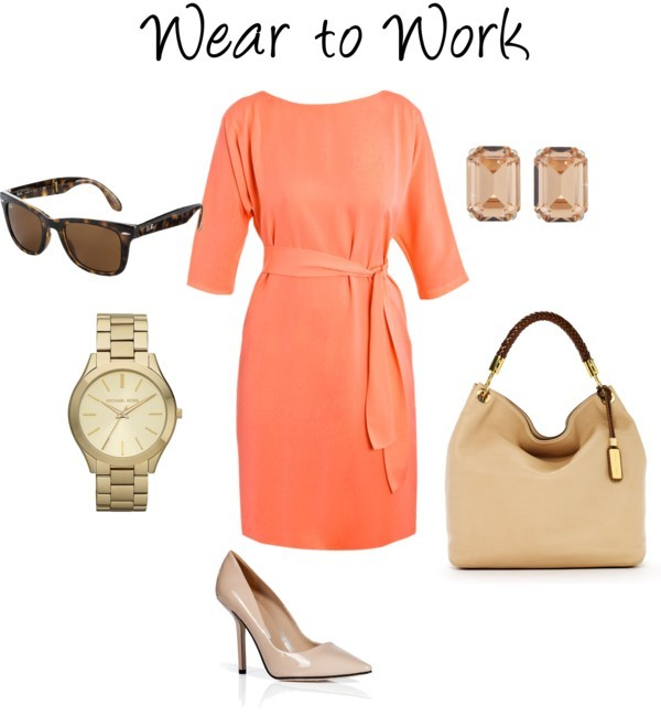 Peach Wear to Work by meljparrish featuring michael kors watches