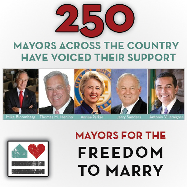 "250 mayors across the country have now spoken out for the freedom to marry by joining our ""Mayors for the Freedom to Marry"" campaign. See them all HERE."