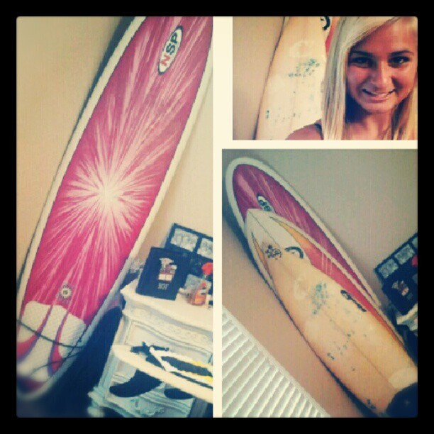 I know its not a quality picture, but NEW SURFBOARD!! #hollaatmebro