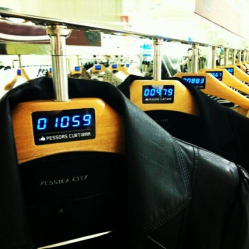 nickrrrad:  Hangers that show the number of facebook likes for each item in the store.