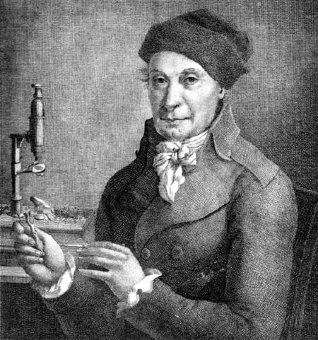 This is Johannes Hedwig, a Romanian doctor in the 18th century who later became a botany professor at the University of Liepzig. He is actually known as the founder of bryology, and the Hedwigiaceae family is named after him. He was the first person to clarify the life cycle of mosses.Source