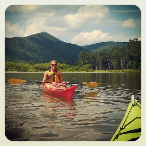 Usually he teaches me things, but I got to teach him how to kayak! #kayaking#water#outdoor#adventure#sun#clouds#sky#summer (Taken with Instagram)