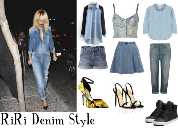 Get a Denim Style like Rihanna by intoxicninja featuring a denim shirt  See by Chloé denim shirt, $130 / Bustier top / Chiffon top / AllSaints boyfriend jeans / French connection / Denim skirt / Vionnet stiletto heels / Supra  shoes / Platform shoes