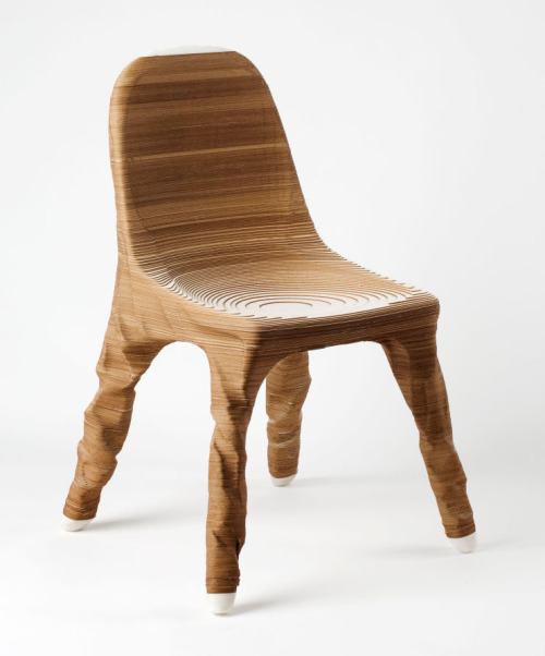 Erosio Chair by Hermann August Weizenegger Made of layers of paper and the exploration of 3D modeling.