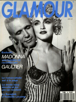 Madonna and Jean Paul Gaultier on the cover of Glamour in June 1990
