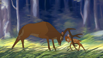 Bambi II includes ideas meant for Bambi which were ultimately cut. The film is a midquel, the story taking place in the middle of Disney's original Bambi, with the Great Prince of the Forest dealing with the now motherless Bambi.