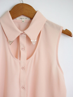Mickey's Girl: Light Pink Metal Tip Collar Tank