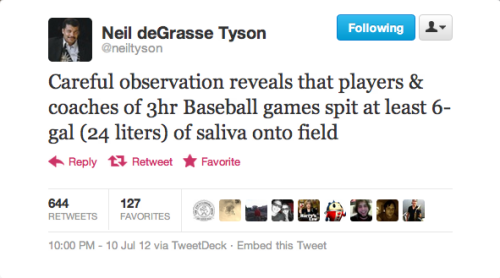 "Neil deGrasse Tyson Tweets About Baseball | BuzzFeed Inspired by Tuesday's All-Star Game, the famed scientist decided to ""tweet what baseball looks like through the lens of an astrophysicist."""