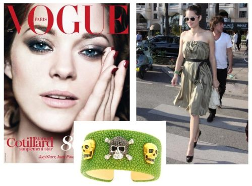 Marion Coutillard sporting  the SKULL STINGRAY CUFF from Atelier Minyon.