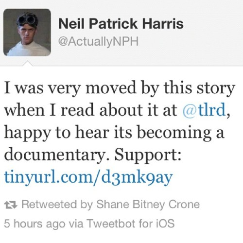 Amazing!! Thank you @ActuallyNPH for supporting @BridegroomMovie!! #bridegroommovie #tombridegroom #equalloveequalrights  (Taken with Instagram)
