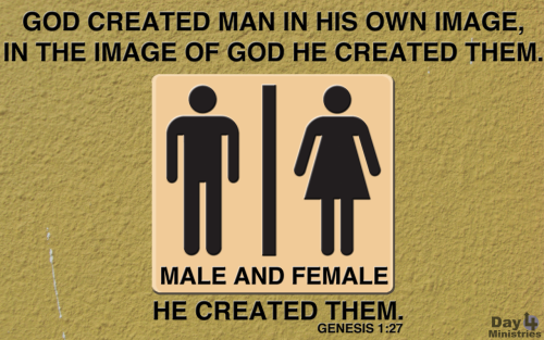 """God created man in His own image, in the image of God He created them. Male and female He created them."