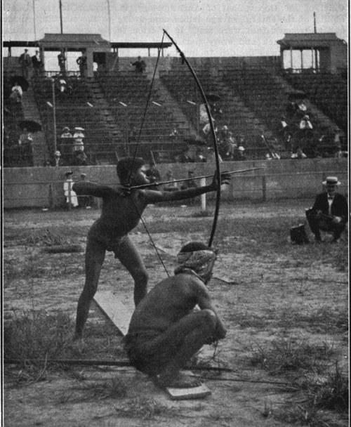 "In the 1904 Olympics in St. Louis, Missouri, ""savages"" were shipped from around the world to compete in the games — to show white men's superiority. They were essentially kidnapped, from South America, Africa, and some Native Americans for good measure. They were pitted against each other for two days before the real games began, a bigoted opening act to demonstrate, indisputably, their lesser status."