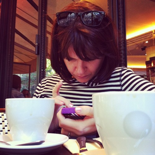 Stacy, being Parisienne on l'iPhone. (Taken with Instagram at Le Champ de Mars)