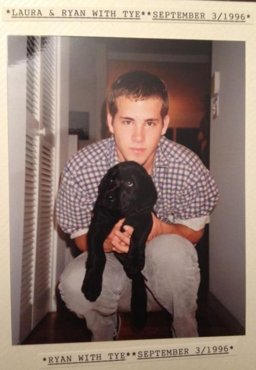 Aaaand here's a young Ryan Reynolds with a puppy. Awww.