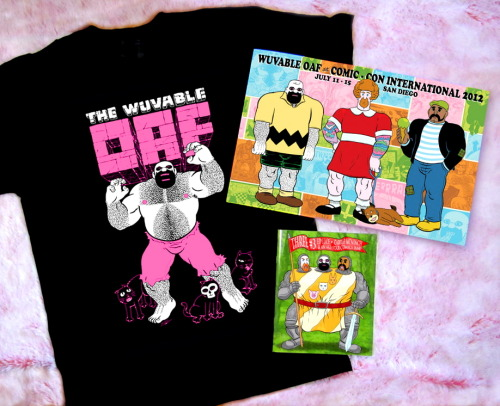 CAN'T WAIT!! GETTING A NEW SHIRT!! wuvableoaf:  A preview of the new Wuvable Oaf stuff debuting at Comic-Con (Prism Comics, booth #2144)! For everyone else, it's available right now at http://www.wuvableoaf.com/products.htm -The brand new OAF HULK shirt: Much cuter (and hairier) than Green or Red Hulk, Oaf Hulk ruins another pair of sweat pants! Printed by our pals at www.badskulls.com on Fruit of the Loom Heavy tees, sizes XS-3XL. -Comic-Con 2012 Wuvable Oaf poster: This 11 X 17 poster depicts the Oafs in their convention cosplay outfits! Printed on archival MOAB Lasal paper. -Robert Kirby's THREE #3: Featuring a cover and COLOR Oaf story by Ed Luce, this latest issue also has a tale by Carrie McNinch and a crazy, very funny all-star comics jam instigated by Jen Camper, featuring Jen, Ivan Velez, Jr., Howard Cruse, Diane DiMassa, Ellen Forney, Joan Hilty, and Editor Robert Kirby. There are also special guest pages of art & comics by such queer, punk, and autobio comics illuminati as Michael Fahy, Janelle Hessig with Matt Runkle, MariNaomi, and Ignatz nominee Marian Runk. Also available online at http://www.robkirbycomics.com/Rob_Kirby_Comics/Three.html