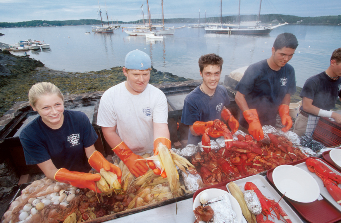For 65 years lobsters lovers have congregated at Harbor Park, overlooking Maine's Penobscot Bay, to indulge in over 20,000 pounds of lobster over the course the five-day Maine Lobster Festival. Photo courtesy of Jeff Greenberg in Town & Country August 2012.