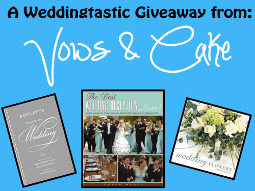 "One lucky wedding lover will win three great books to help plan their perfect wedding: ""Bartlett's Words for the Wedding"" by Brett Fletcher Lauer and Aimee Kelley ""Wedding Flowers"" by Antonia Swinson ""The Best Wedding Reception Ever! Your Guide to Creating an Unforgettably Fun Celebration!"" by Peter Merry Rules: -Follow Vows & Cake (because this contest is aimed at my amazing followers!) -Reblog as many times as you want! -Likes count! -Winner will be announced Tuesday, July 17, 2012 at 8:00 PM (EST)!"