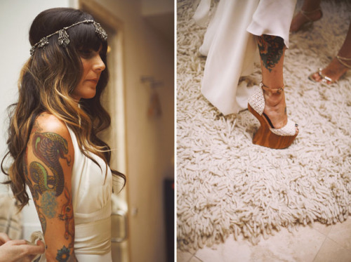 photos by feather love photography i'm madly in love with this bride's headdress and her AMAZEBALLS shoes (also her photographer is one of my new favorites)… and i know how much you all love tattooed brides!
