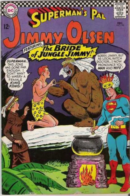 "18 Ridiculous Comic Book Covers Featuring Gorillas It's Comic-Con week! Today we celebrate those moments when someone said ""I don't know, how about a Gorilla or something."" Strange Adventures in particular seems to have some strange preoccupation with the relationship between humans and apes. All these Gorillas make for some pretty bizarre comic book covers, whether they're covered with bombs, marrying Jimmy Olsen, or plotting the doom of mankind."