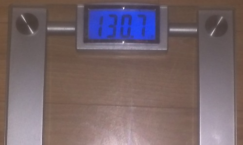 Today's Weight: 130.7 lbs.Total Lost: 6.9 lbs.The water weight is going down!!!  I was 132.8 lbs because of it yesterday, so I dropped 2.1 lbs of it so far. I hope it's completely gone by Friday's weigh in. If not, it's ok…there's always next Friday.