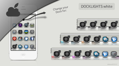 thenewblogbrothers:  Dock Lights WHITE EDITION pour iPhone retina, 4 & 4S. Blue, Turkoise, Orange, red & pink, Soft & Hard colors. Se marie très bien avec le thème Boss.IOS de FIF7Y, ou n'importe quel autre thème bien sûr… Dock Lights WHITE EDITION pour iPhone retina, 4 & 4S est Disponible sur le repository de Myidevice.fr.