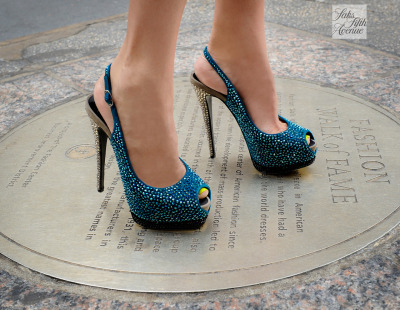 10022-shoe:  Paying homage to the fashion greats on Seventh Avenue in Giuseppe Zanotti!Photo by KSW