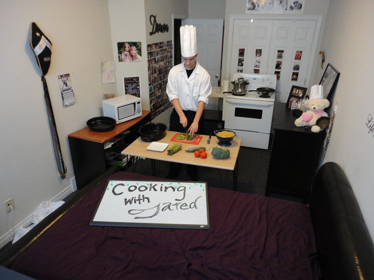 Cooking show…in Michelle's room.