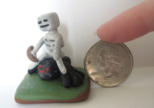 I made a tiny skeleton archer riding a spider. Made from Sculpey clay.
