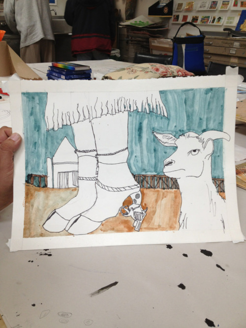 Quintin's work-in-progress. Hoof boots with gun heels.